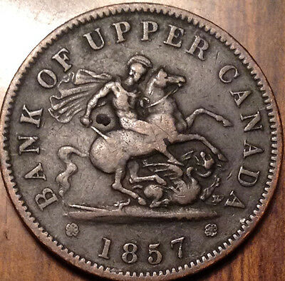 1857 Bank Of Upper Canada One Penny Token A Nice Example !