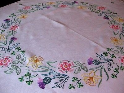 Vintage Hand Embroidered Linen Tablecloth  - Roses, Daffodils,thistles Shamrocks