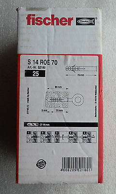 Genuine Fischer S 14 ROE 70 52160 Wall Anchors Scaffold Fixings Plugs - Box 25