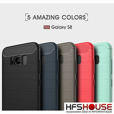 Para Samsung Galaxy S8 Funda Carcasa Gel Tpu Carbon Cover Case