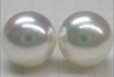 Pair Of Aaa 13-14Mm Huge South Sea Genuine Perfect White Pearl Earring 14K