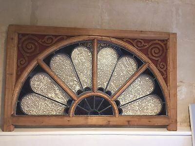 Large Georgian Leaded Stained Glass Window Panel - Architectural Antique