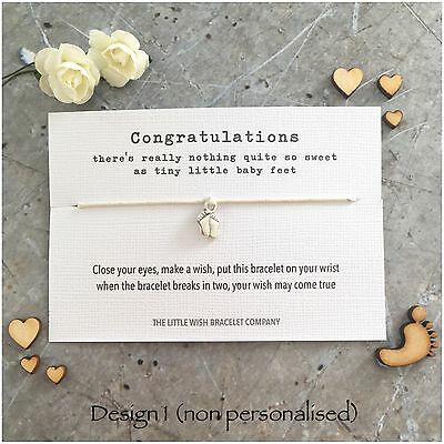 SWEET BABY FEET Wish Bracelet, New Baby, Mum to Be, Congratulations Gift Favour