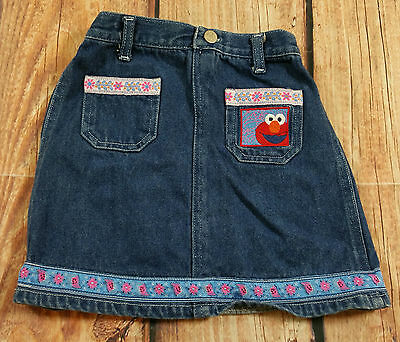 Sesame Street Elmo Blue Jean Denim Skirt Toddler Girl Size 4T