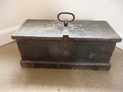 Large 19th Century Iron Bound Wooden Sailors? Tool Box Brass Initials T.E