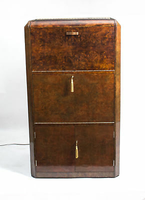Antique Art Deco Burr Walnut Cocktail Cabinet Dry Bar c.1930