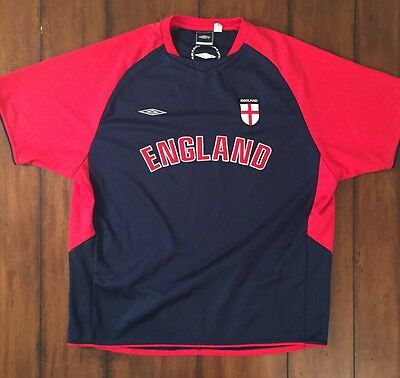 Vintage Umbro England Soccer Futball Jersey Shirt Rare Red Blue Extra Large