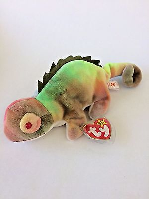 "Ty Beanie Baby ""Iggy"" Iguana Original Tag Errors PVC Pellets Collectible"