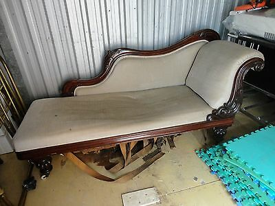 Antique Victorian Chaise Lounge Mahogany Single Ended Circa 1880