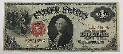 """1917 $1 Legal Tender Large Note Red Seal """"Saw Horse""""  Circulated PM-30"""