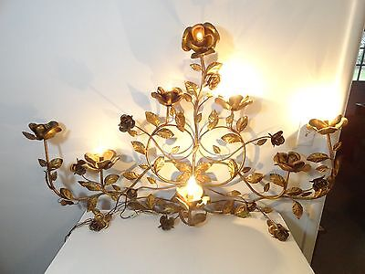 Vintage Lighted Italian Toleware Hollywood Regency Gilted Gold Wall Decor