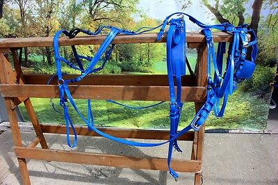 New extra nice BIOTHANE mini horse driving harness BLUE by Frontier Equestrian