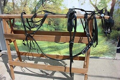 New extra nice BIOTHANE mini horse driving harness BLACK by Frontier Equestrian