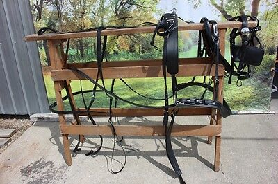 New extra nice BIOTHANE horse size driving harness BLACK by Frontier Equestrian