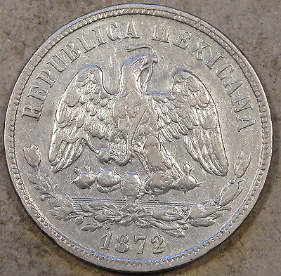 Mexico 1872 Mo S Fifty Centavos Better Circulated Grade Coin
