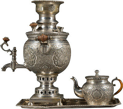A Very Fine Persian Isfahan .84 Silver Hand Chased Miniature Samovar