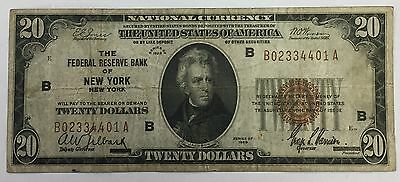 1929 $20 National Currency Brown Seal New York Circulated No Reserve! PM-33