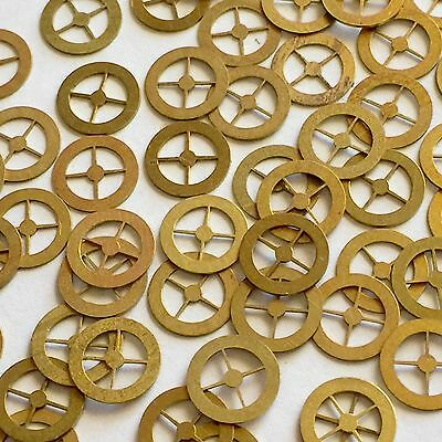 100 Gold Watch Parts Steampunk Altered Art Gears Wheels Vtg Watchmakers Lot