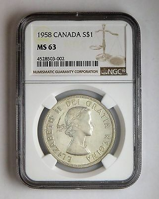 1958 S$1 Canada Silver Dollar NGC MS 63 Business Strike