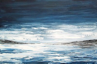 "Original Large 30""x 20"" Abstract Storm Seascape  Acrylic  Canvas Painting"