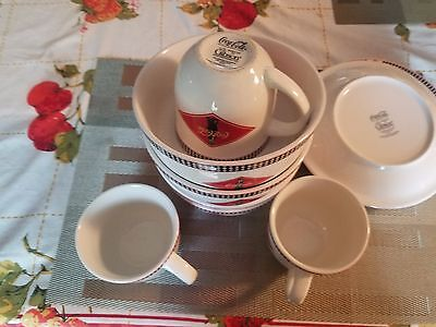 Vintage Coca Cola Brand Dishes by Gibson. Old fashioned Checkered.  Lot of 11.