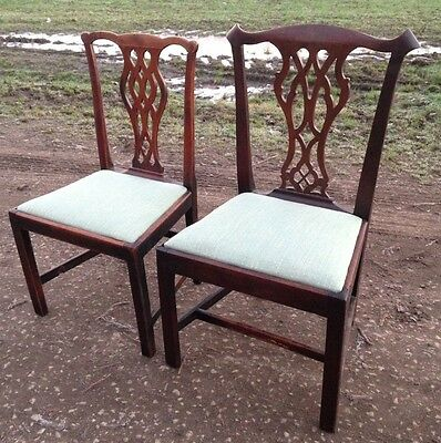 Pair of Antique Georgian or C18th Chippendale Style Mahogany Dining Hall Chairs