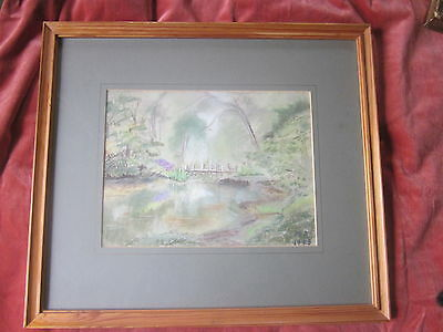 Pretty Pastel Old Painting Abbotts Pool Signed Framed