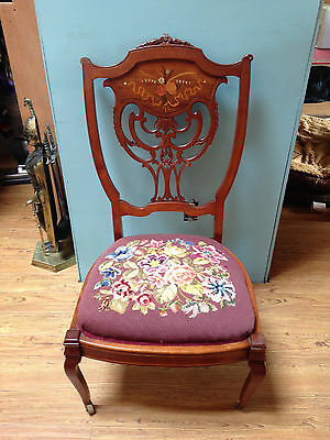 Antique Handcarved Chair Needlepoint Seat