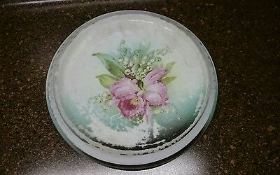 Antique Round Tea Trivet with Painted Flower Germany