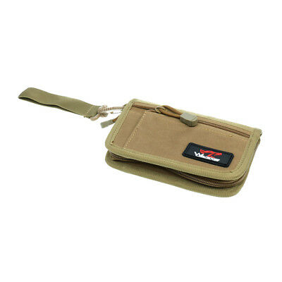 Nylon Men Tactical Outdoor Military Wallet ID Card Holder Zipper Pouch Tan