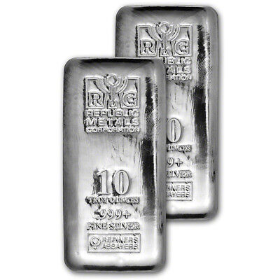 TWO (2) 10 oz. RMC Silver Bar - Republic Metals Corp - 999 Fine (Cast)