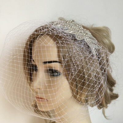 Vintage White Birdcage Veil Mesh Fascinator w/ Headband Wedding Bridal Party