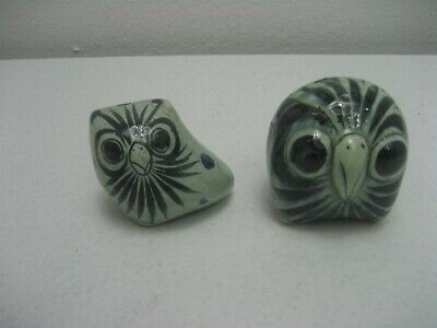 Vintage Pair of Porcelain Green Owls Figurine Hand Painted Mexico 79