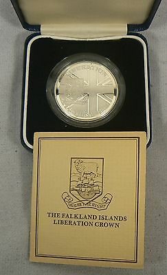 FALKLAND ISLANDS 50 PENCE SILVER PROOF COIN 14th JUNE 1982 LIBERATION w/COA