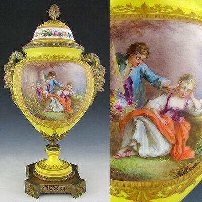 Antique French Sevres Hand Painted & Signed Porcelain Urn Bronze Satyr Handles
