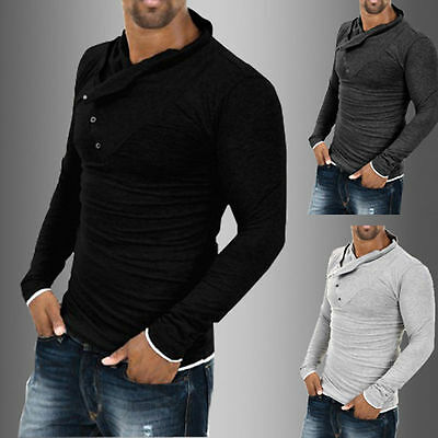Fashion Men's Tops Slim Fit Casual T-shirts Polo Shirt Long Sleeve Cotton Tee GW