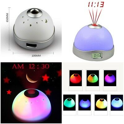 Creative Digital LED Desk Night Light Alarm Clock Star Moon Time Projector Gift