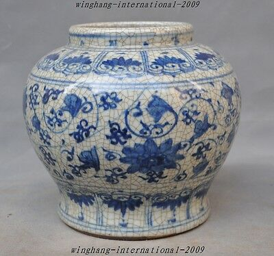 Antiques Old China Blue&White Porcelain glaze Flower Tank pot jar Bottle Crock A