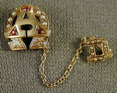 10K Gold Alpha Omega Sorority Pin - Rubies, Seed Pearls - ship to N.America only