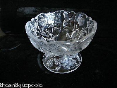 1908 Cambridge Clear Glass Inverted Strawberry Child's Toy Punch Bowl Compote
