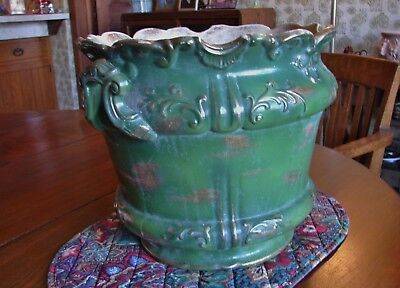 Antique c1900 D.F. Haynes MD Chesapeake Pottery lg Gold Trimmed Green Jardiniere