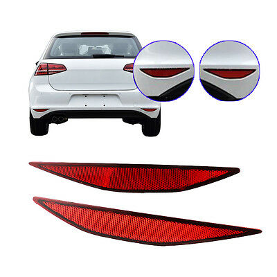 New Pair Hatchback Dark Red Rear Bumper Cover Reflector For VW Golf MK VII 13-17