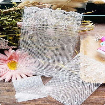 100pcs White Lace Self adhesive Seal OPP Cookie Baking Plastic Packaging Bag