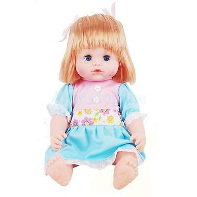 Soft Handmade Full Body Silicon Vinyl Baby Doll Girl in Blue Toy Gift