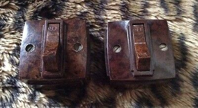 Bakelite Light Switch Small Pair Brown Excellent Condition Art Deco