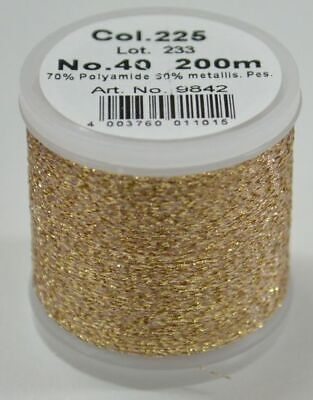 Madeira Metallic 40, 200m Machine Embroidery Thread, ROSE GOLD, #225