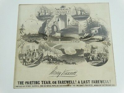 Antique c1845 The Parting Tear, or farewell! At last MUSICAL BOUQUET Sheet Music
