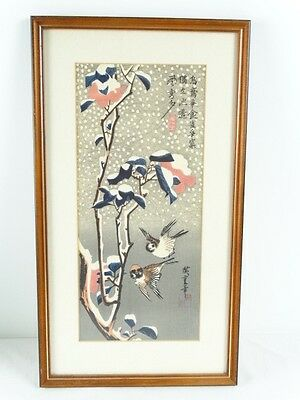 Woodblock print Japanese Sparrows and Camellias in the Snow 1830-1836 Hiroshige