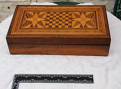 Profusely Inlaid Antique Writing Slope For Restoration With Mini Chess Board Top