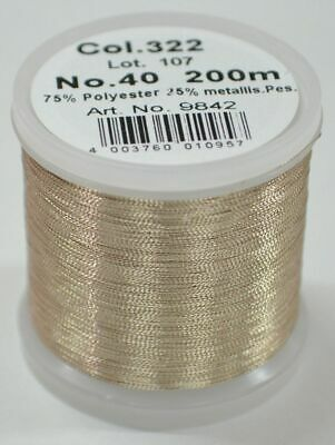 Madeira Metallic 40, Machine Embroidery Thread, 200m GOLD DUST, Colour 322